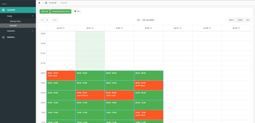 Kalendář objednaných pacinetů